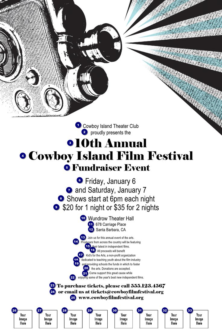 Film Festival Poster with Image Upload | Ticket Printing