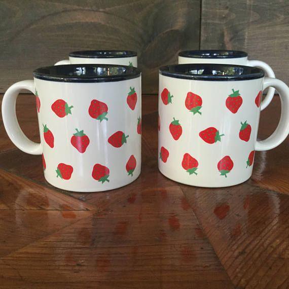 Vintage Set Of 4 Mugs Potpourri Press 1980s Strawberry Motif 80s Kitchen Potpourri Press Strawberry Mugs Greensboro Nc Potpourri Mugs Handmade