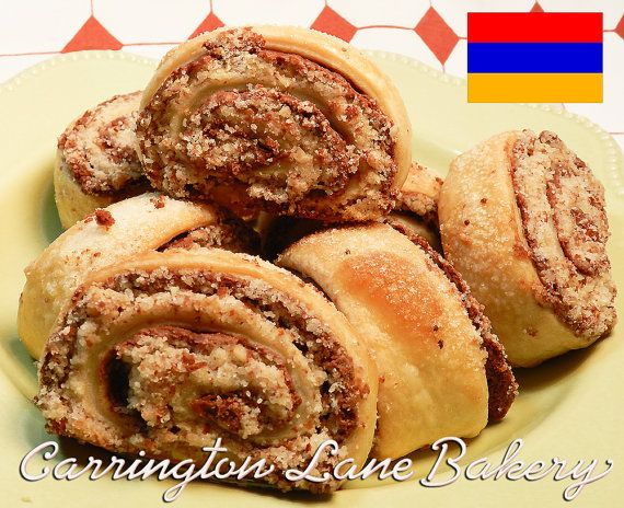 Armenian Sweet Nazook 1 doz.  2 inch Chocolate and Almond Filled Rolled Cookies on Etsy, $21.00