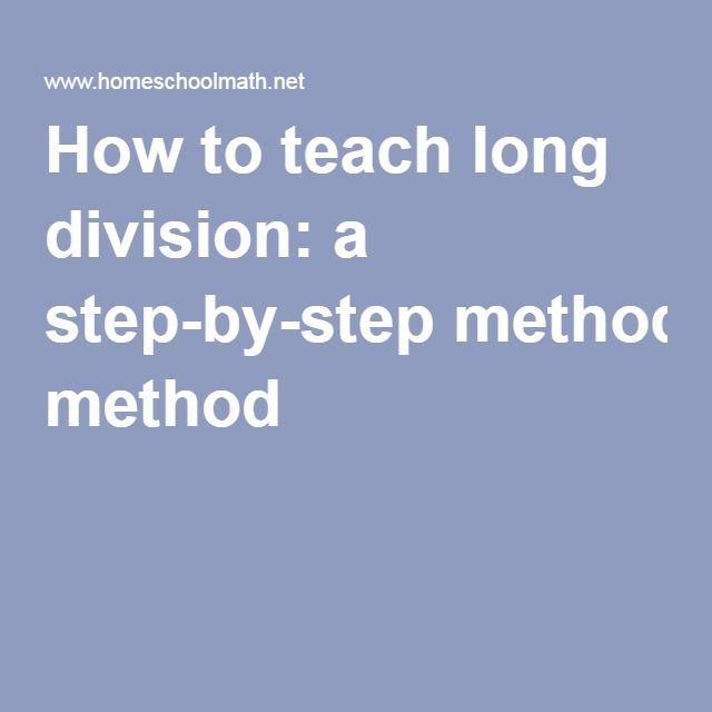 how to use long division method