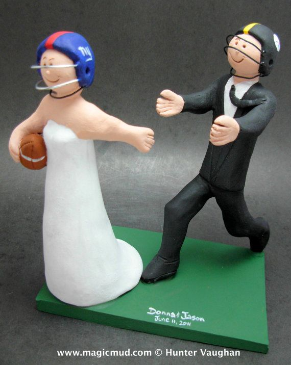Football Bride Wedding Cake Topper, College Football Wedding Cake Topper - , Personalized Custom Made Wedding Cake Topper, created just for you!     This photographed listing is but an example of what we will create for you....simply email or call toll free with your own info and pictures of yourselves, and we will sculpt for you a treasured memory from your wedding!    $235 #magicmud 1 800 231 9814 www.magicmud.com