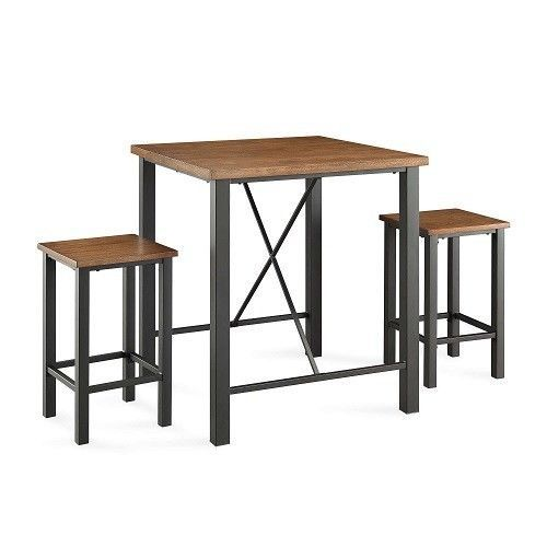 Kitchen Breakfast Pub Table Bar Stools Dining Set Furniture 3 Piece Vintage Oak  #KitchenBreakfastPubTableBarStoolsDiningSet #ModernFarmhouse