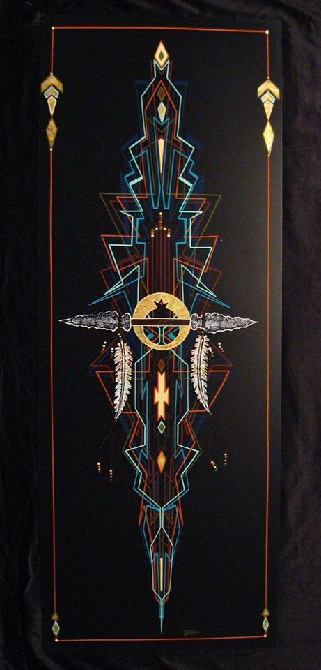 """One of my Southwestern Native American style custom pinstriped Art! It features my """"angular"""" style striping!"""