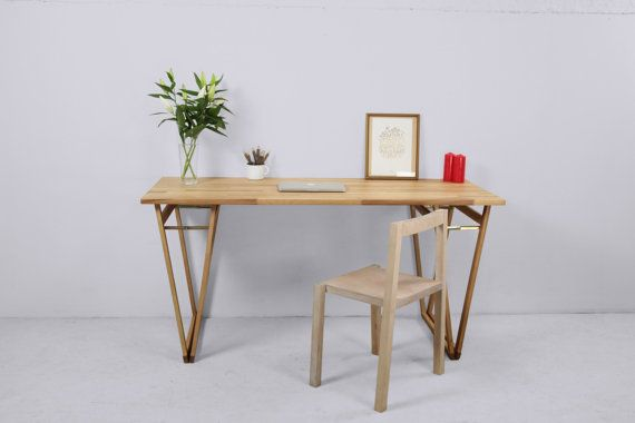 LIGHT BEECHWOOD DESK, Natural Study Desk,  Original Solid European Beechwood Table, With rustic Double v Legs, Home Furniture, #3.5