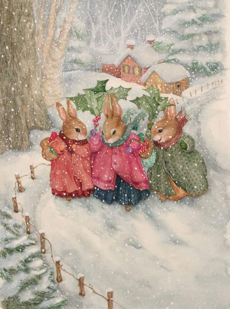 Ангелов, новогодние открытки зайки