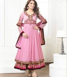 Buy Pink embroidered georgette semi stitched salwar with dupatta party-wear-salwar-kameez online