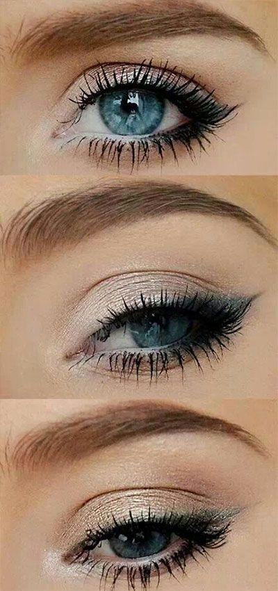 Subtle gray winged eyeliner on blue eyes (how to)