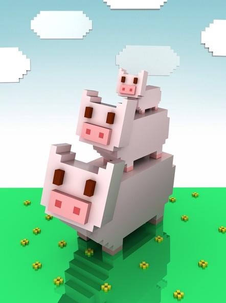 pig 3D  (created by 'NEMOART' App)