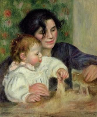 Painting by Pierre-Auguste Renoir. The baby was Jean Renoir, who grew up to become the famous film director.