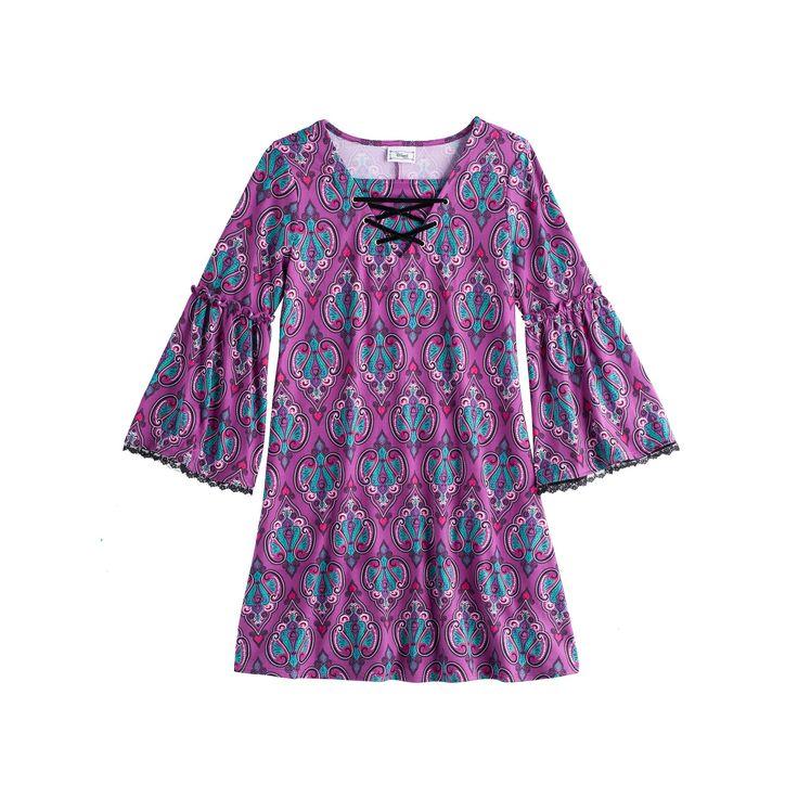 Disney D-signed Descendants 2 Girls 7-16 Lace-Up Patterned Bell Sleeve Dress, Size: Medium, Multi