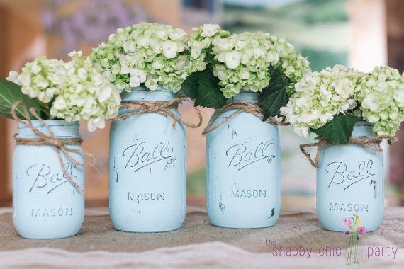 Set of 4 Distressed Mason Jars by TheShabbyChicParty