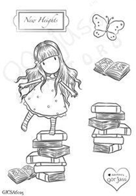 """Gorjuss Clear Stamp """"New Heights""""  Why are book-themed stamps so darn rare?  There's got to be a demand for stamps that aren't cupcakes, flowers, or butterflies."""