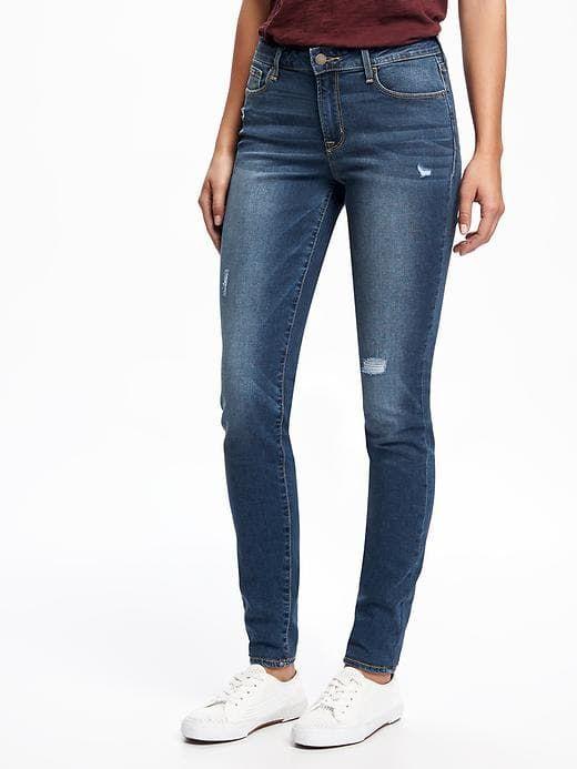 Mid-Rise Rockstar Destructed Skinny Jeans for Women