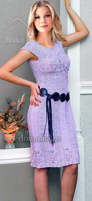 Красивое вязаное платье спицами