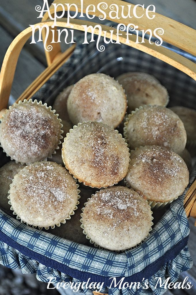 ~Applesauce Mini Muffins~ The perfect bite size sweet treat for busy mornings, after school treats or lunch box dessert!