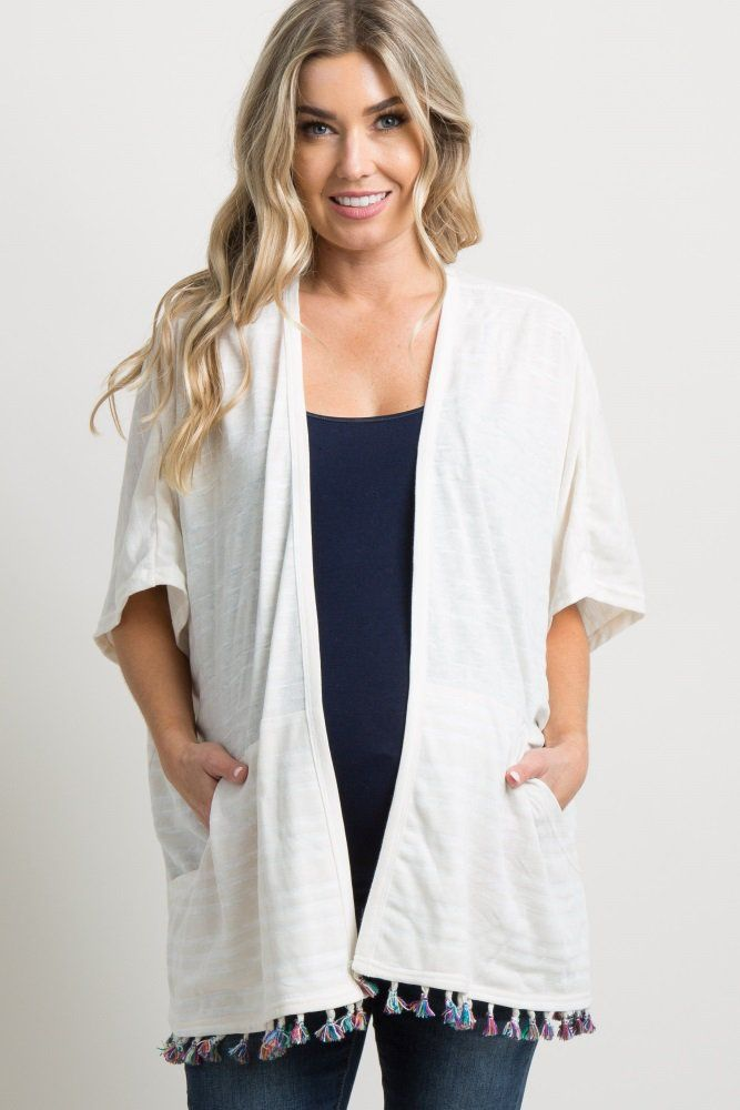 9435971e974e0 Ivory Striped Tassel Trim Dolman Kimono A striped print maternity kimono  featuring a multi-colored tassel trim on hemline, short dolman sleeves, ...