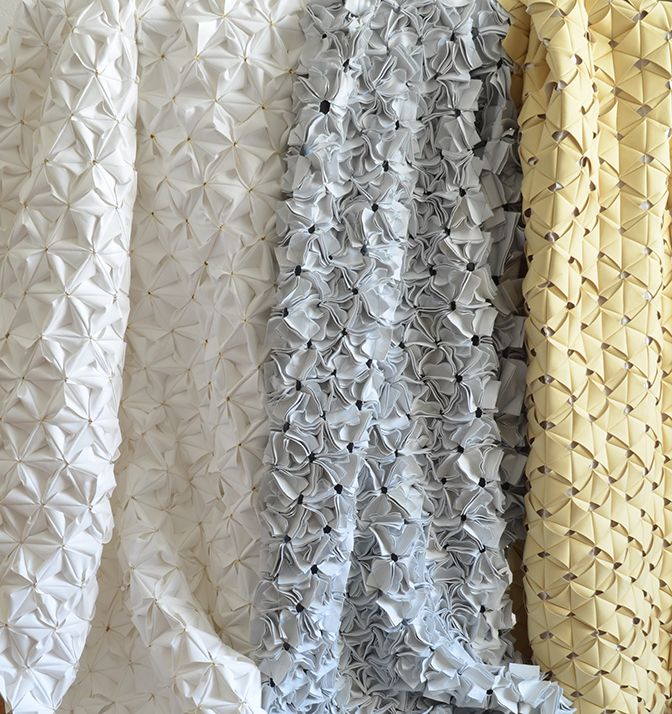 Innovative Fabrics with textured, tessellating patterns - creative cuts; origami textiles; repeating shapes; 3D fabrics; textile surface design
