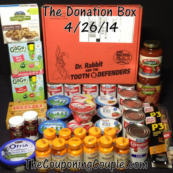 The Donation Box for 4-26 ~ This week's healthy delivery!   read more ► http://www.thecouponingcouple.com/the-donation-box-for-4-26-14/