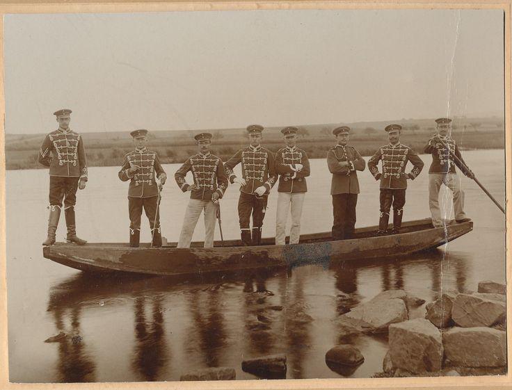 Grossfoto - Husaren im Boot - um 1900
