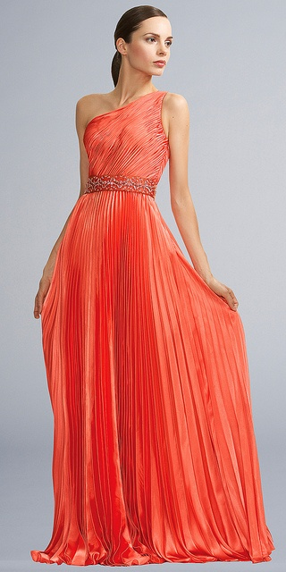 orange evening dress...