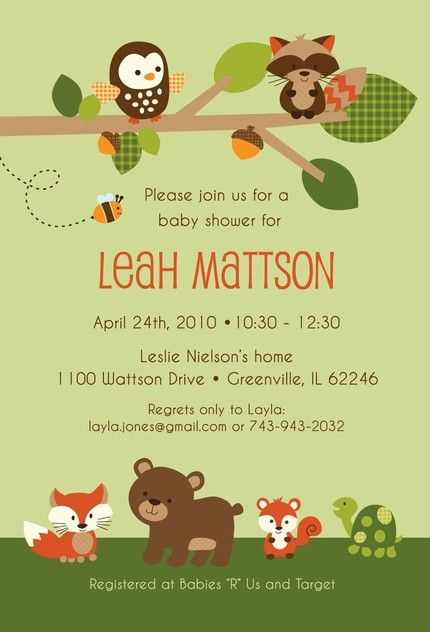 Baby shower invitation in our Carter's Woodland Friends theme!