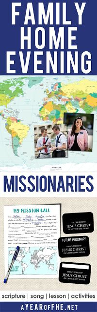 A Year of FHE // This is such a fun lesson about Missionaries! It includes a mini mission call worksheet for your family members and three optyions for printable missionary name tags! The entire family will love this! #lds #familyhomevening #missionaries
