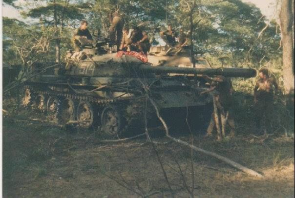Angolan Russian tank captured by SADF