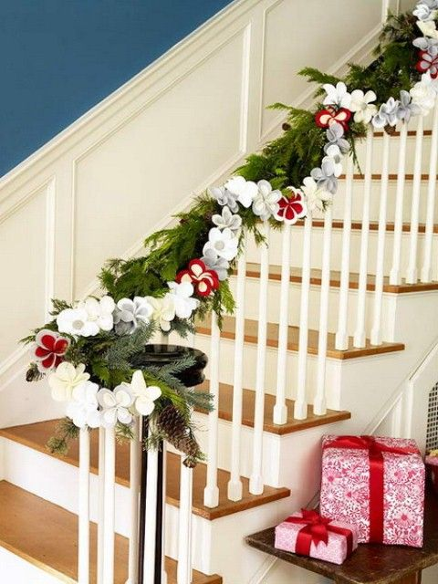Interior: Wonderful Stair With Wrapped Christmas Leaf On Handrail, Xmas  Decorating Ideas, Fireplace