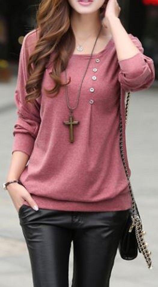 Camisa de cuello redondo manga larga color solido de ajuste holgado