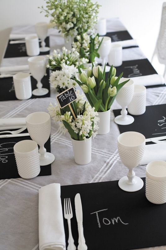 17 best ideas about table settings on pinterest - Decoration table noir et blanc ...