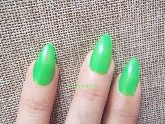 fake nails green stiletto false nails neon wedding drag queen