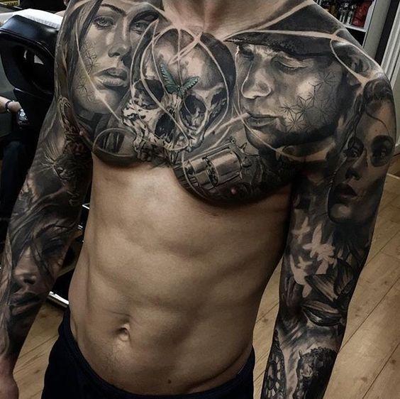 Tatuajes Para Hombres En El Pecho Negro Y Gris Color