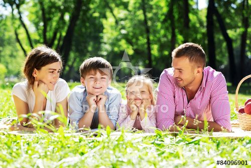 Family picnic in garden