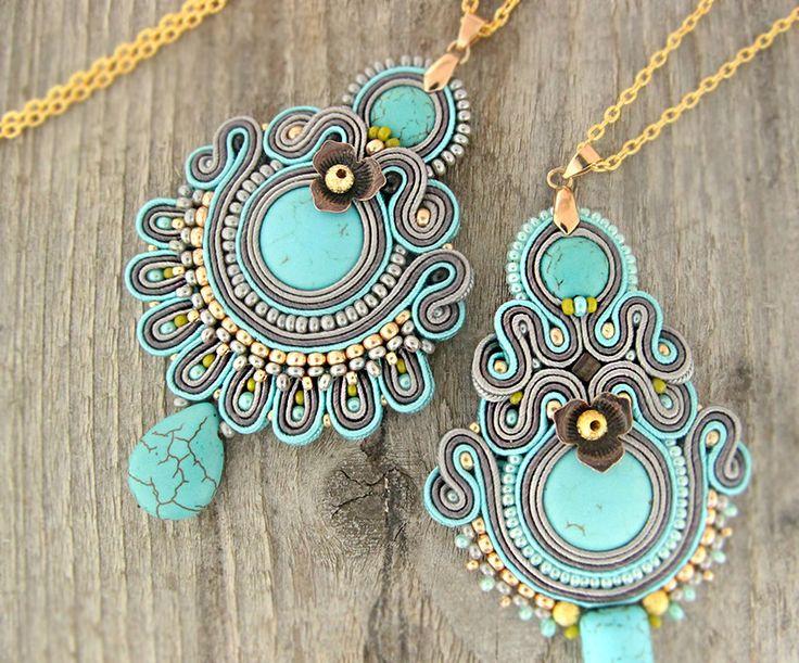 Turquoise boho pendant, beaded turquoise necklace, soutache pendant, boho chic…