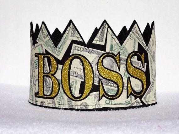 BOSS Crown, BOSS Hat, BOSS, Money, Money Crown, 100 Dollar Bill, Gag Gift, Money Hat, Adult Birthday