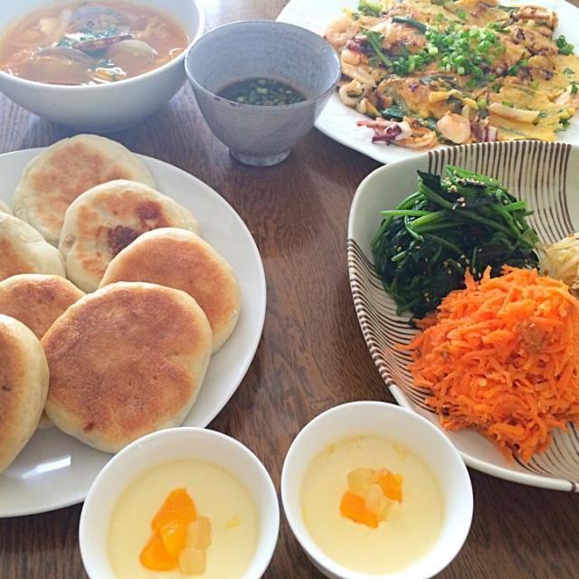 名古屋のお友達のおうちで作ってきました。なめらか杏仁プリンは友達が作って待っててくれました♡ - 16件のもぐもぐ - 韓国料理ホットク、ナムル、チゲ、チヂミ by minimaki20