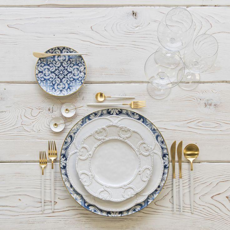 Rent Transatlantic Dinnerware Signature Collection Dinnerware Goa Flatware In Brushed 24k Gold White White Table Settings Modern Table Setting Art Table