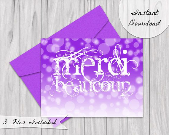 Merci Beaucoup card, a french than you card in purple ombre.  A great way to say thank you to the special people in your life. Available as an instant download, perfect for diy printing at home or wherever!  https://www.etsy.com/listing/250844840/merci-beaucoup-card-thank-you-card