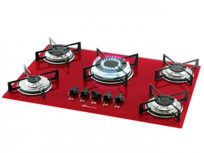 Cooktop 5 Bocas Fischer Rouge a Gás - Tripla Chama Acendimento Superautomático com as melhores condições você encontra no Magazine Arapuan. Confira!