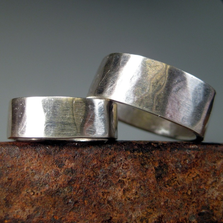 "I love sparkles, but I'm kinda loving a hammered band....    Organic Hammered Wedding Bands Sterling Silver ""April and Mic"". $360.00, via Etsy.: Wedding Ring, Silver April, Organic Hammered, Wedding Stuff, Sterling Silver, Wedding Bands, Silver Wedding, Bands Sterling"