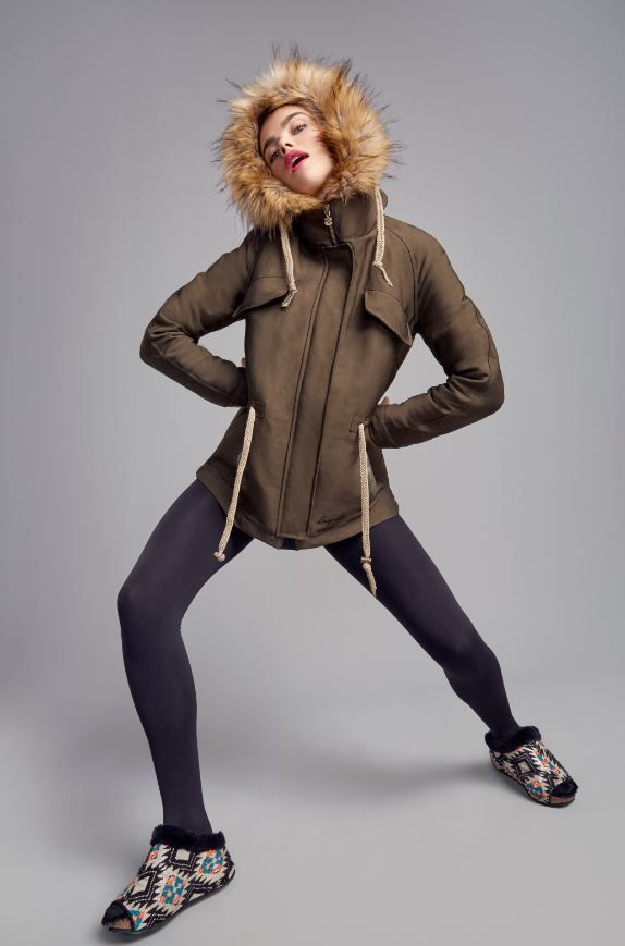Khaki color coat with adjustable waist and zipper closure. The hood is full of soft fur to keep you extra warm.