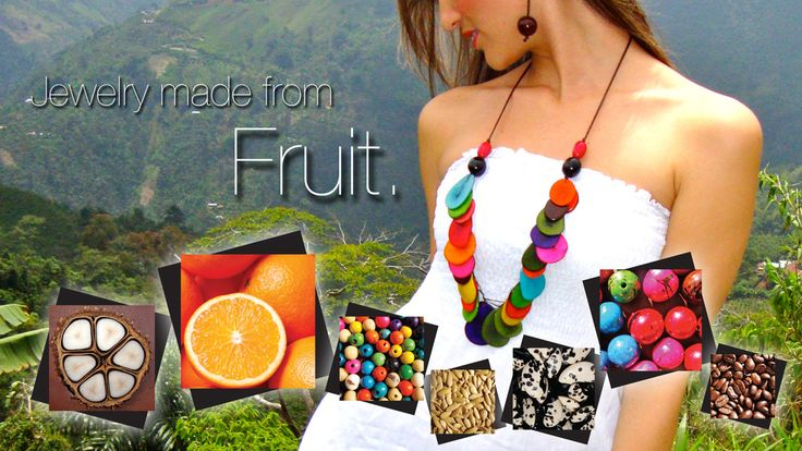 http://www.colombiangirljewelry.com Jewelry made entirely from fruit. Orange peel necklace smells YUM. Colombian Girl Jewelry