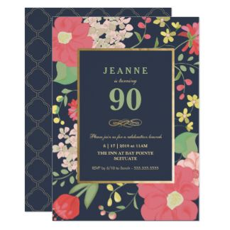 90th Birthday Invitation - Gold, Elegant Floral
