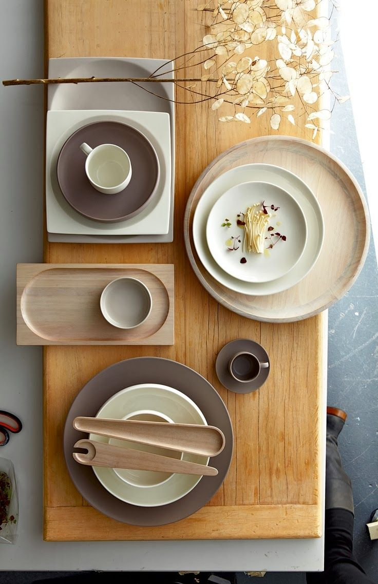 "Royal Doulton ""Mode""- love the mix of china, stoneware, and limed wood"
