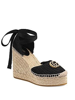 3aa1e36f9382 Gucci - GG Crochet Espadrille Wedge Sandals