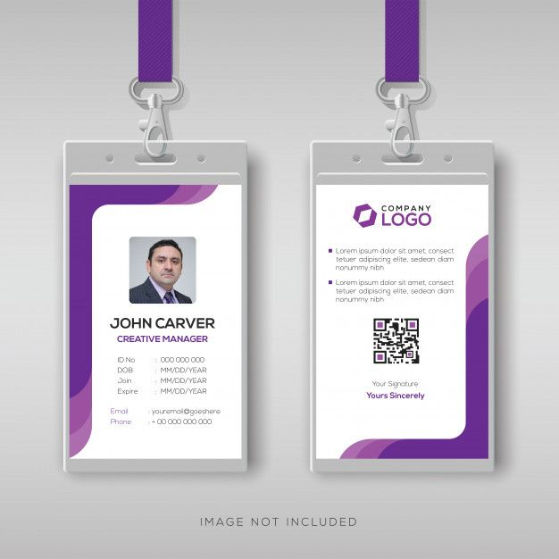 Simple Id Card Template With Purple Details Id Card Template Identity Card Design Free Printable Business Cards