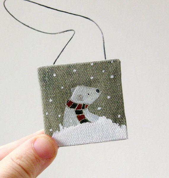 let it snow bear / christmas ornament / tiny original by ohchalet