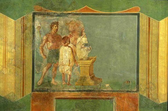 Wandmalerei mit Stieropfer. Trier, Palastgarten, 2. Jh. n. Chr. Rheinisches Landesmuseum Trier. © Th. Zühmer; Rheinisches Landesmuseum Trier