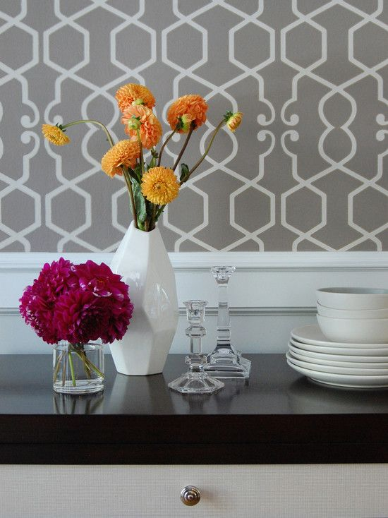 Clarke & Clarke Augustus Wallpaper - Contemporary - dining room - Niche Interiors