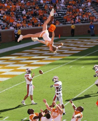University of Tennessee Cheerleaders Basket Toss
